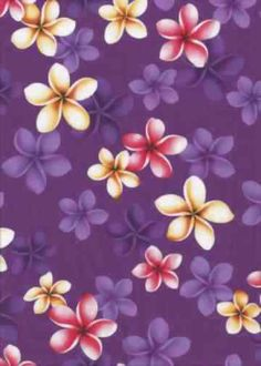 11pluma Tropical Hawaiian Plumeria Flowers - broadcloth, apparel cotton Hawaiian vintage style fabric.  More fabrics at: BarkclothHawaii.com