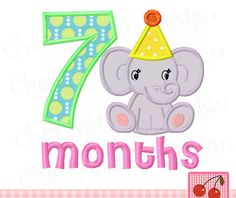 Baby elephant with 7 months for girls,7 Months,Baby elephant,New baby digital applique design-4x4 5x5 6x6 inch-Digital Applique Design by CherryStitchDesign on Etsy