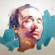 Watercolor Portrait Tutorial, Watercolor Portrait Painting, Watercolor Face, Abstract Watercolor, Portrait Art, Watercolor Illustration, Painting & Drawing, Figure Painting, Figure Drawing