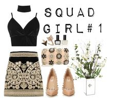 """""""Squad girl#1"""" by anisia-mateia ❤ liked on Polyvore featuring For Love & Lemons, Boohoo, Valentino, Miss Selfridge, Bee Goddess and Balmain"""