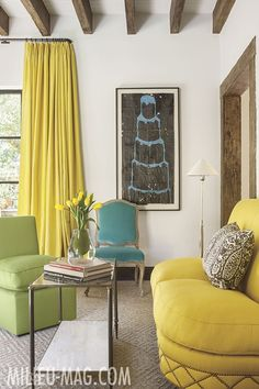 living-room   citron   green   teal = lovely   the white walls keeps it fresh   wish I knew who the designer is?