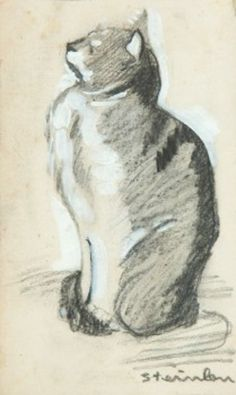 Théophile-Alexandre Steinlen (1859-1923) - Drawing of a Sitting Cat