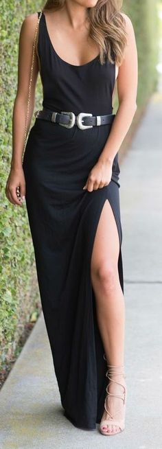#summer #outfits / black slit dress