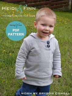 Heidi & Finn // Urban Unisex Hoodie pattern and tutorial - PDF pattern boy girl Boys Sewing Patterns, Sewing For Kids, Baby Sewing, Baby Patterns, Sewing Clothes, Diy Clothes, Old Sweatshirt, Diy Bebe, Hoodie Pattern