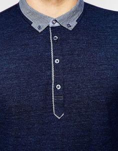 Image 3 of BOSS Orange Polo Shirt with Contrast Collar Long Sleeves - Shirt Collar Styles, Polo Collar Shirts, Mens Polo T Shirts, Polo Shirt Women, Casual Shirts For Men, Polo Shirt Style, Polo Shirt Outfits, Polo Shirt Design, Polo Outfit