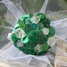 Customisable Emerald Green Button Bouquet - Any colour / theme made to order - Matching Boutonniere - Vintage Keepsake Everlasting Memory Bride Bouquets, Bridesmaid Bouquet, Flower Girl Bouquet, Button Bouquet, Alternative Bouquet, Tarnished Silver, Nontraditional Wedding, White Tulle, Green Button