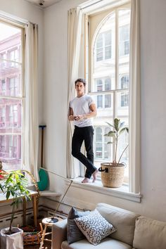 Pieter-Jan Mattan in his New York home in the book Greenterior: Plant-Loving Creatives and Their Homes.