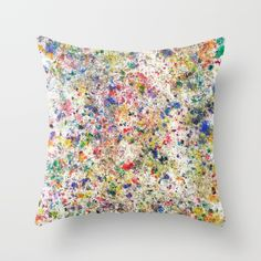 Abstract Artwork Colourful #7 | Different abstract artworks were painted to create interesting structures. #Painting #Decoration #Unique #Design #Abstract #Painting #Abstraction #watercolour  #watercolor #points #dots, #Art #Malerei #Colour #Color #Colourful #Colorful #Structure #Petrol #Society6 #Pillow