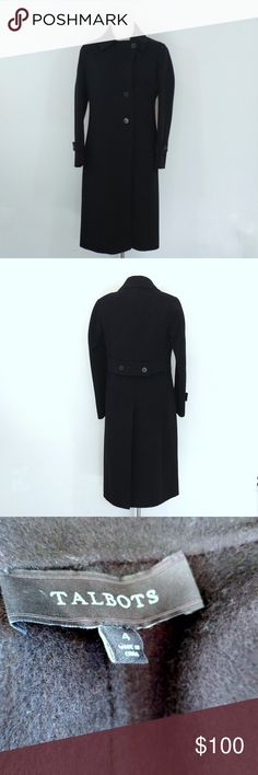 """Talbots Black Wool Coat Up for sale in very good preowned condition Talbots Black Wool Coat, Size 4.  Check out my closet, bundle and give me your offer!  Measurements: Top to Bottom: 40"""" Bust Area: 18.5"""" Sleeves: 23""""  All Measurements are taken flat in the front only. Talbots Jackets & Coats"""