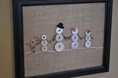 omg so cute w black buttons for the dog and gr… Snowman family button artwork…. omg so cute w black buttons for the dog and gr…,christmas deko diy Snowman family. Snowman Crafts, Christmas Projects, Christmas Art, Winter Christmas, Holiday Crafts, Christmas Decorations, Christmas Ornaments, Ornaments Ideas, Christmas Ideas
