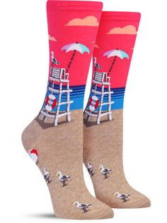 Lifeguard Chair Awesome Novelty Socks for Women, in Turquoise