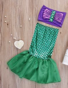 Mermaid Outfit With Tail and Top/ Costume Dress Up, Birthday Party Outfit, Mermaid Themed Party, or Swimsuit