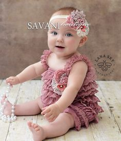 baby lace romper,3 PCS SET, dust pink lace romper set. Lace Petti Romper , headband and clip, Baby Girl Photo Prop #
