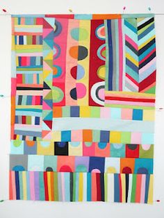 lu summers's mostly improv quilt -- lvoe the colors, the wonky shapes and the half circles. Feels very Mose T/Gee's Bend.