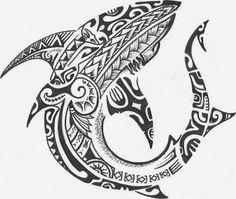 Polynesian Shark Tattoo Design