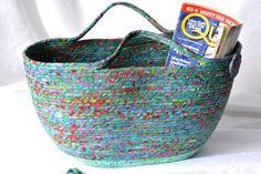 I handmade this lovely Turquoise Moses Basket ...Handmade by me.... Gorgeous Aquamarine Batik Fiber Tote Bag, Beach Bag, Magazine Rack, so many uses....  by WexfordTreasures