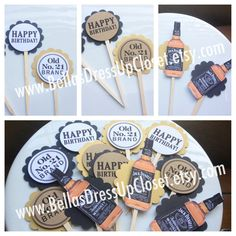 Jack Daniels 30th Birthday Theme Cupcake Toppers. $21.95, via Etsy.
