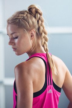 Long hair? No cares. The last thing you want to battle is your bangs. This easy braid cools you off quick and tames fly-aways. Match it with the Techfit Bra and Crop Tank for a look that's casual chic.