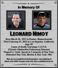 Leonard Nimoy - Leonard Nimoy The Effective Pictures We Offer You About diy home decor A quality picture can tell - Star Trek Crew, Star Trek Tv, Star Wars, Star Trek Actors, Star Trek Characters, Science Fiction, Fiction Movies, Star Trek Original Series, Star Trek Series