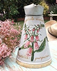 Antique Hand Painted French Body Pitcher Pink Foxgloves-zinc, watering, can,floral, digitalis,purpurea,sunroom, garden,gardenroom,potting, bench