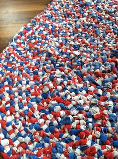 Handmade red, white, blue amish knot rug for Fourth of July