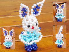 Beaded blue bunny3D Beaded Animal Figurine sitter by JajaCreations, $9.99