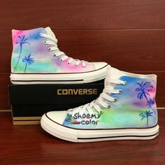 Colorful Hand Painted Converse Shoes Coconut Palm Tree Canvas Sneakers 58e6b14ee