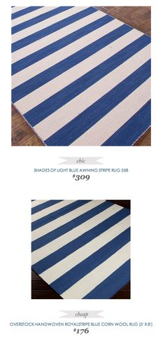#CopyCatChicFind #ShadesofLight Blue Awning Stripe Rug $309   Vs    #Overstock Handwoven Royal