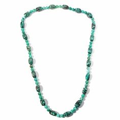 """Jay King Green Spider Web Stone 42"""" Beaded Necklace at HSN.com."""
