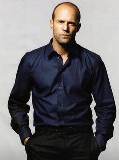 """Jason Statham in Blue Shirt: Some men just don't wear a suit well. Jason is a good example of setting realistic expectations. It works for his look and it shows respect for this is as """"formal"""" he can be without looking well - freakish. Jason Statham, Actrices Sexy, Michelle Rodriguez, Kelly Brook, Vin Diesel, Hommes Sexy, Rosie Huntington Whiteley, Dwayne Johnson, The Expendables"""