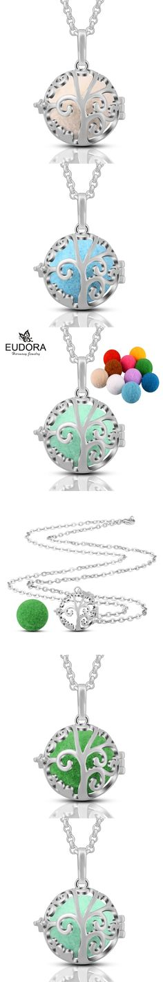 Eudora Hollow Family Tree Aromatherapy Perfume Harmony Floating Locket Cage Essential Oils Pendant Necklace with 10pcs Pompon