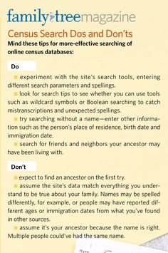 Follow these Dos and Don'ts when searching for ancestors in genealogy census databases.