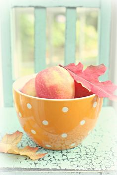 by lucia and mapp, via Flickr...Fall apples and leaves....beautiful Autumn photo!