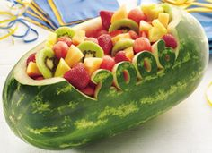 Get creative with fruit salad. Serve your family with this watermelon bowl filled with variety of fruits – ready in 45 minutes. Graduation Party Foods, College Graduation Parties, Graduation Celebration, Graduation Decorations, Grad Parties, Graduation Ideas, Graduation Gifts, Graduation 2015, Birthday Parties