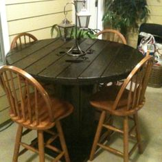 Wire reel outdoor patio table