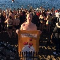The Vancouver Raelians were at the English Bay Polar Bear Swim to have fun and bring