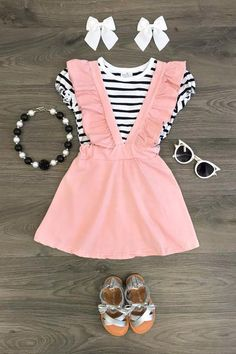 The Daphne Suspender Skirt Set – Baby Little Girl Outfits, Cute Outfits For Kids, Toddler Girl Outfits, Baby Girl Fashion, Toddler Fashion, Kids Fashion, Baby Kids Clothes, Boutique Clothing, Clothing Stores