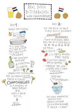 Bitterballen, kroketten, haring en oranje tompoezen, een dagje lekker vet eten. Recept van Yvette van Boven