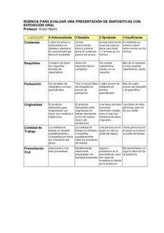 Rubrica presentación de diapositivas y exposición oral.
