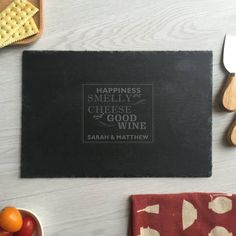 wine and cheese engraved cheese board custom slate cheese board personalized cutting boards cheese platter plate housewarming gift, Personalized Cheese Board, Personalized Cutting Board, Personalized Items, Smelly Cheese, Slate Cheese Board, The Slate, Cheese Platters, House Warming, Wine