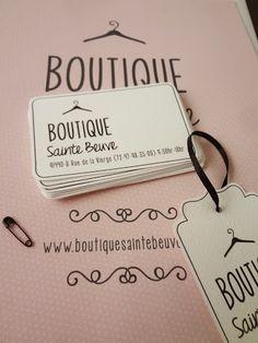 Logo, business card and tag for boutique. Hanger icon, pink & black color scheme. Cute, femenine & vintage. Designed by anasofía.