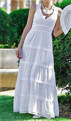 FloryDay / Casual Solid Tunic V-Neckline Shift Dress White Maxi Dresses, Pretty Dresses, Casual Dresses, Beautiful Dresses, Fashion Dresses, White Dress, Boho Summer Outfits, Summer Dresses, Day Dresses