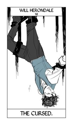 More of Cassandra Jean's Shadowhunter Tarot!  We're further into the Arcana, with the characters from other series showing up. Here Will takes the place of the Hanged Man, bound in an impossible situation.