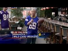 Female reporter gets truck sticked while previewing Vikings football.