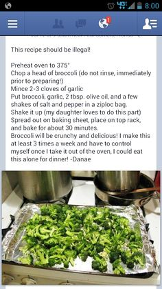 Awesome Broccoli Recipe _ yummy! I am eating it now. It even received spousal approval from one who prefers potato chips and cookies!