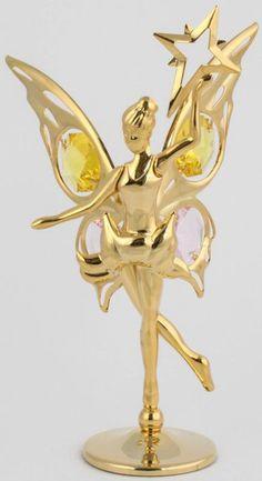 Fee / Elfe Figur mit Stern gold plattiert MADE WITH SWAROVSKI ELEMENTS - premium-kristall