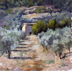 "Daily Paintworks - ""Shed and Olive Groves"" - Original Fine Art for Sale - © Pascal Giroud"