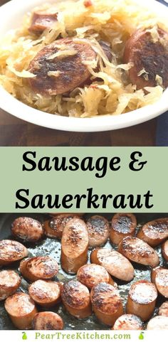 Sausage and Sauerkraut Recipe can be made on the stovetop or in a slow cooker. Browned polish sausage is simmered in sauerkraut with a touch of sweetness from apple slices. Easy one-pot recipe for kielbasa and sauerkraut. Kilbasa Sausage Recipes, Polish Sausage Recipes, Easy Sausage Recipes, Sausage Crockpot, Kielbasa Sausage, Polish Recipes, Sauerkraut And Kielbasa Recipe, Appetizer Recipes, Appetizers