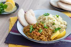 Fitness recepty s vysokým obsahom bielkovín Dhal, Chana Masala, Fried Rice, Fries, Veggies, Ethnic Recipes, Food, Meal, Vegetables