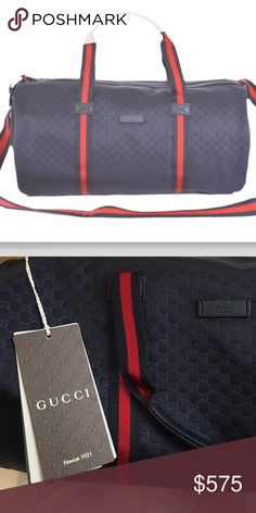 Gucci crossbody unisex duffle handbag, duffle Authentic Gucci small duffle bag.  Used one and in pristine and new condition.  Navy blue. Not part of bundle. Gucci Bags
